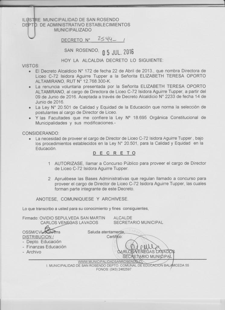 DECRETO LLAMADO A CONCURSO LICEO 001