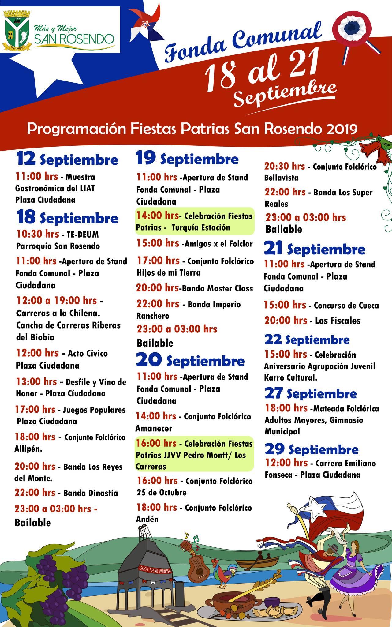 San Rosendo • Programa Fiestas Patrias 2019